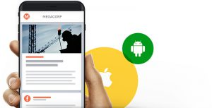 smartphone with tchop app and iOS and Android logo