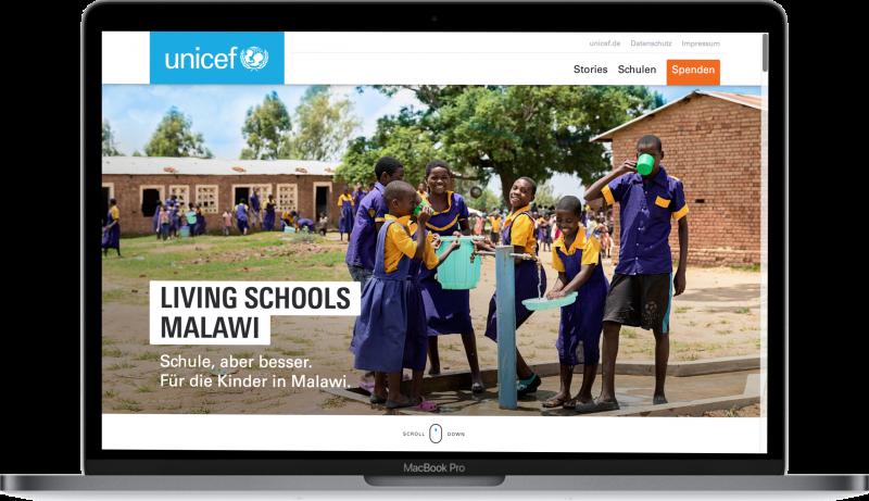 Living School website on a macbook screen