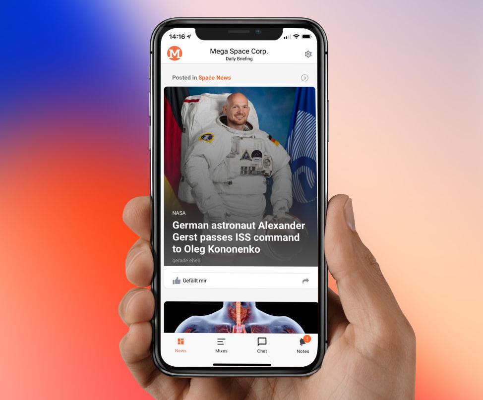 iPhone mit großen Nachrichten-Teaser, der Alexander Gerst zeigt