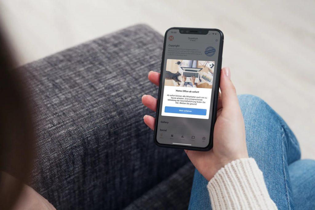 In App Nachricht auf Smartphone