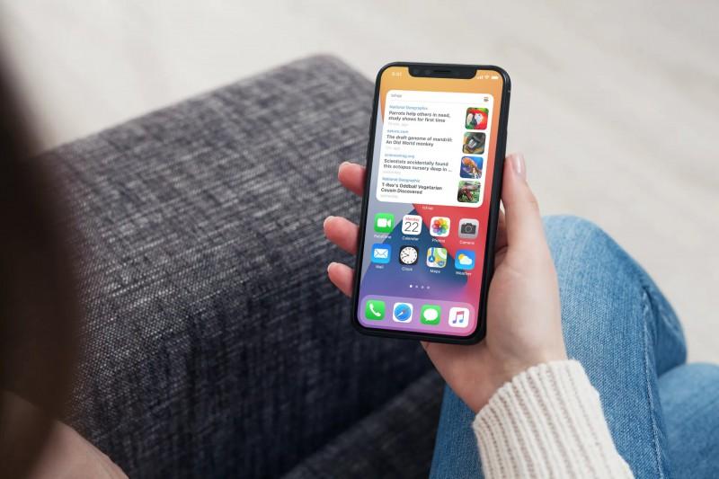 iPhone with iOS14 widget